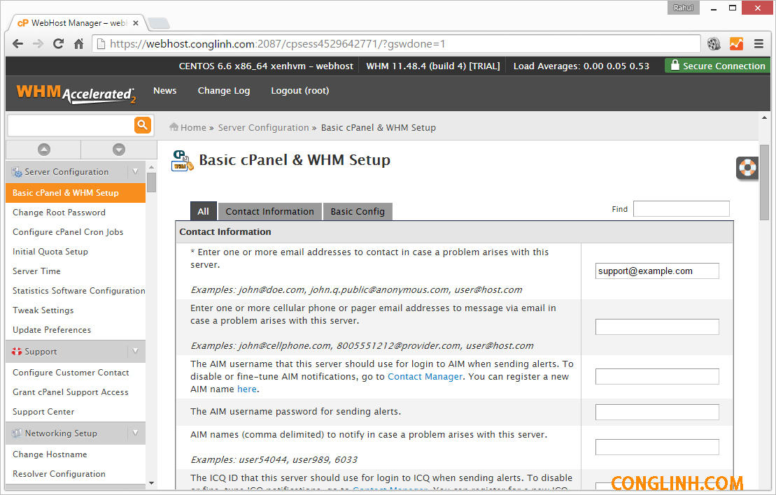 Hướng dẫn cài đặt WHM/Cpanel trên CentOS/RHEL và CloudLinux