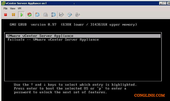 grub-VMware-vCenter-Appliance